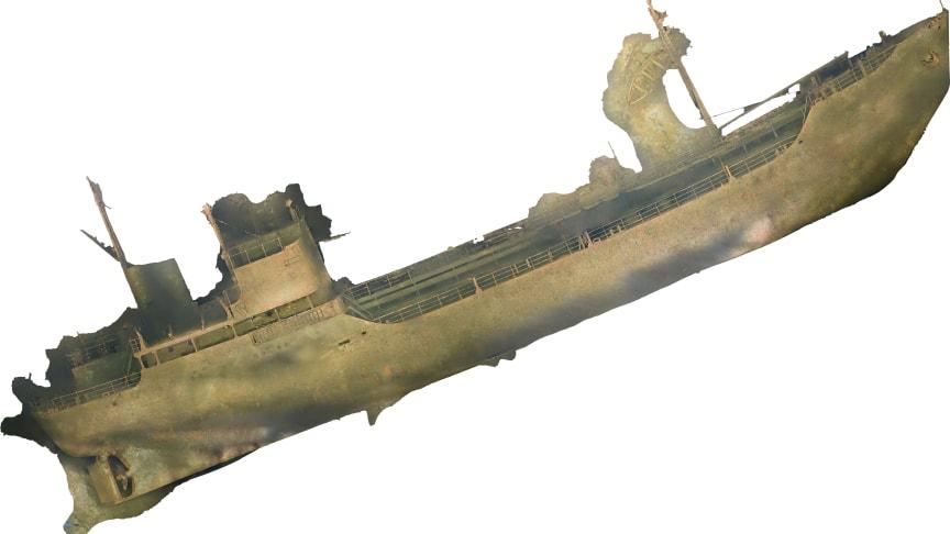 Bild av vraket Lindesnäs på havsbotten. Framtagen genom fotogrammetri. Foto: Ocean Discovery