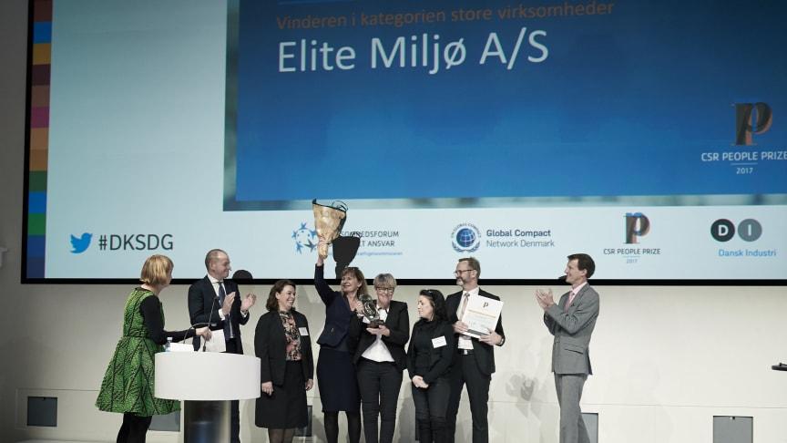 Elite Miljø vandt årets udgave af CSR People Prize for virksomheder med over 100 medarbejdere