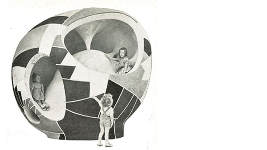 Bilden är hämtad från en annons av Creative Playthings 1953, konstnär Egon Møller-Nielsen. Public domain.