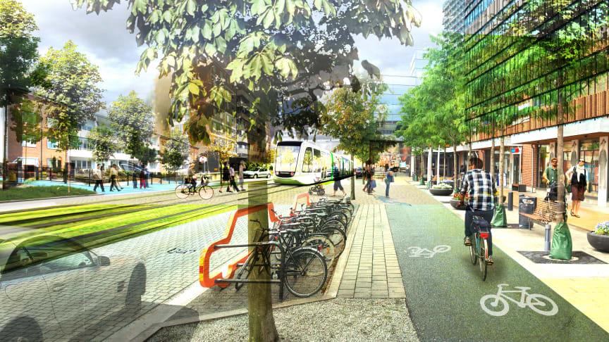 Omvandling av Lorensborgsgatan till stadshuvudgata med plats för människor, hållbara trafikslag, bostäder, arbetsplatser och grönska. Illustration: Dziugas Lukosevicius