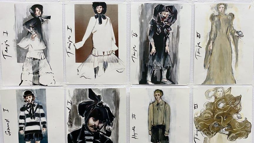 Kostymskisser till Tristan och Isolde av scenograf- och kostymdesigner Maja Ravn. Premiär 14 och 15 oktober.