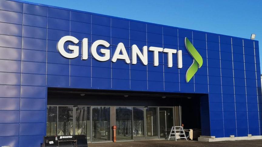 Uusi Kotkan Gigantti avataan torstaina 13.2.2020. Kuva rakennusvaiheesta tiistailta 4.2.2020.