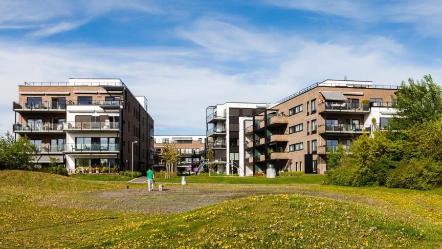 Grønne boligområder på Fornebu i Bærum kommune. | Foto: Hundven Clements Photography