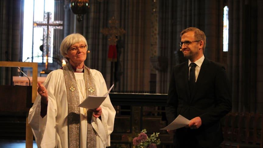 Antje Jackelén och Daniel Alm dialogpredikade i Uppsala domkyrka om kyrkans enhet. Foto: Mikael Stjernberg.