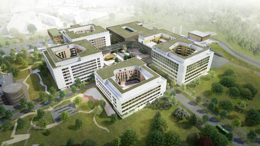 Første byggetrinn av Stavanger universitetssjukehus skal være ferdig 2023.  Illustrasjon: SUS2023 v/ Nordic Office of Architecture
