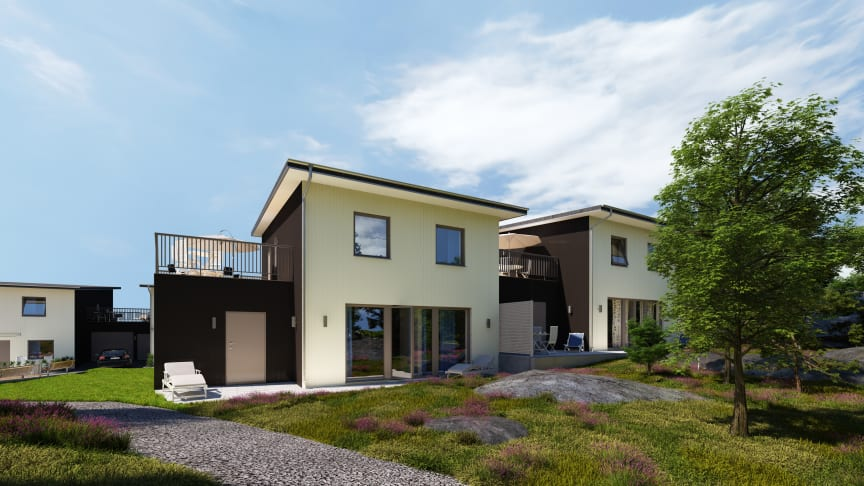 Kastmyntsgatan Högsbohöjd nybyggda hus, uteplats baksida