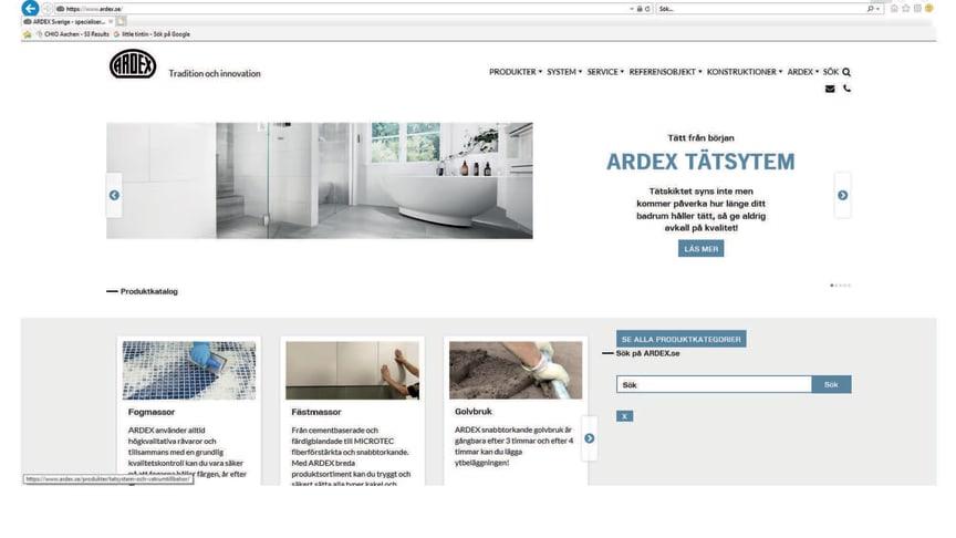 Gå in på ARDEX hemsida