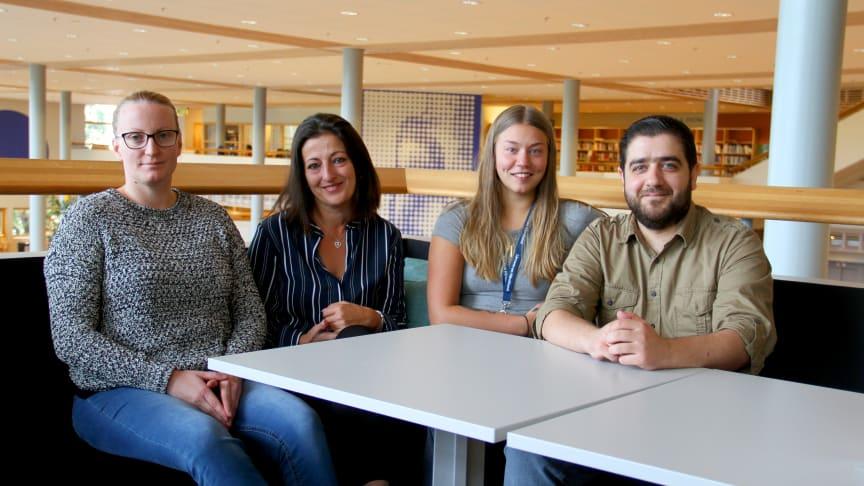 Jelenka Kolarevic, Muradije Barlovic, Sara Söderström och Feras Araout studerar Arbetsintegrerad lärarutbildning.