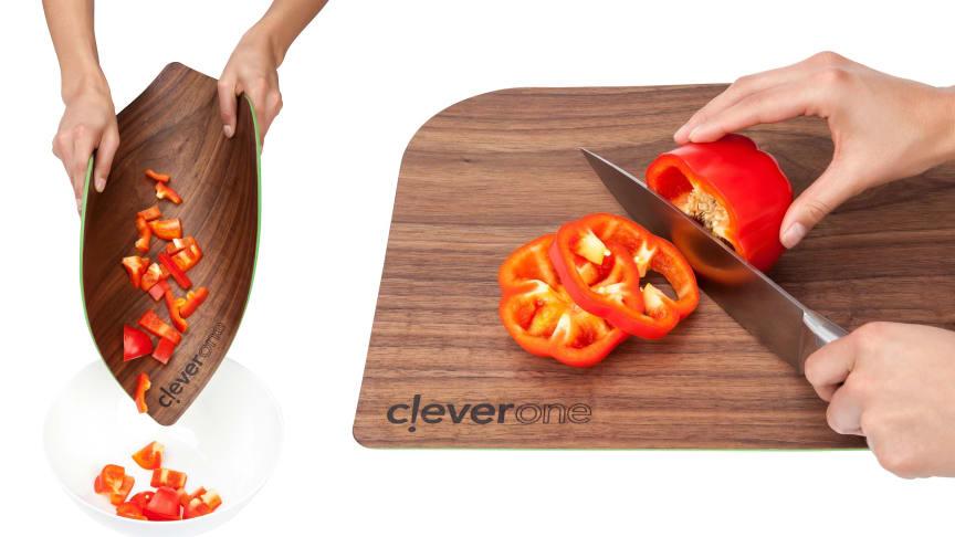 Skärbrädan kombinerar de bästa egenskaperna från en skärbräda i trä med de flexibla egenskaperna från silikon.