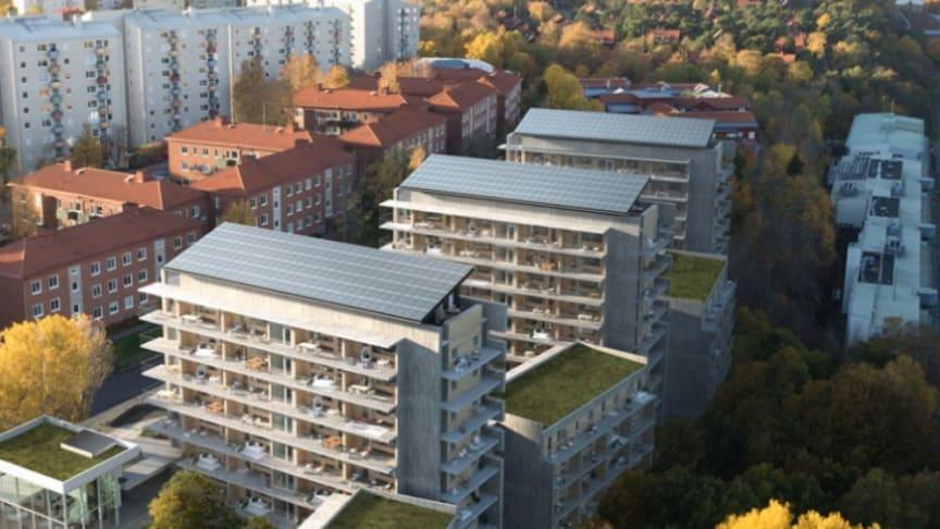 Riksbyggens Brf Viva i Göteborg byggs just nu och får solceller på taken. I kommande Riksbyggenprojekt blir solceller standard.