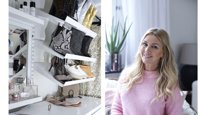 Elfa_Walk-in-closet hjemme hos Hannah Graaf.