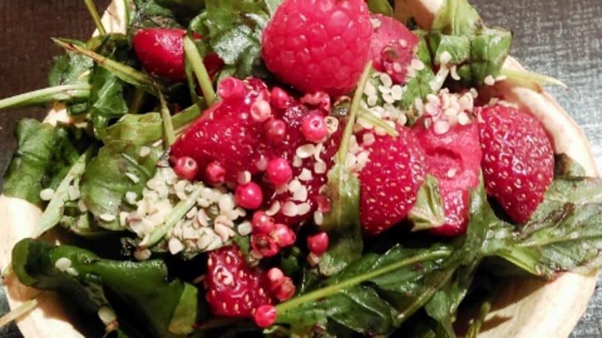Sommerliche Idee: Erdbeeren auf Ruccola im Füllett