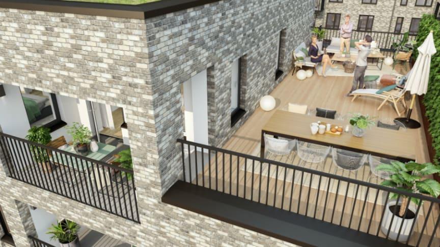 Skissbild för Riksbyggens planerade byggnation i Munktellstaden.