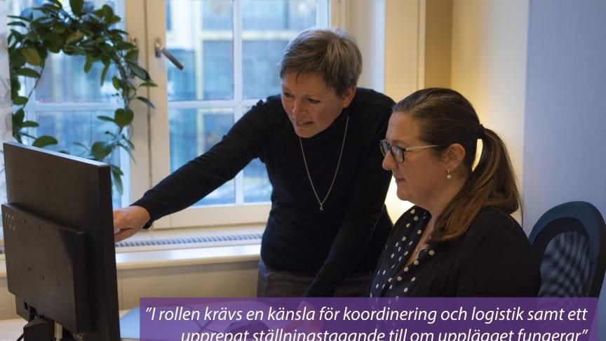 Ofta påbörjas ett protokoll som första steg i ett projekt. Här arbetar Janet Håkansson (CRM) ihop med Marit Wangheim (MW).