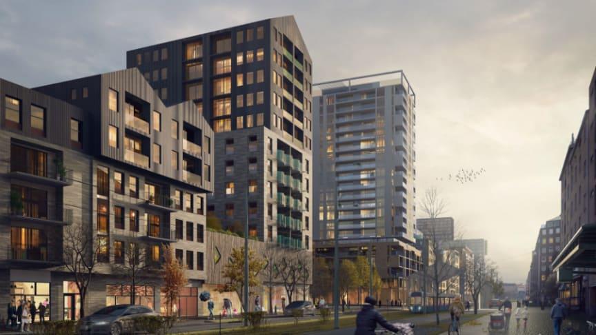Illustration av Riksbyggens kommande bostäder på Första Långgatan.