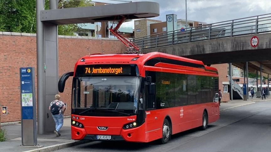 På Mortensrud i Oslo er det allerede etablert ladeløsning for buss.