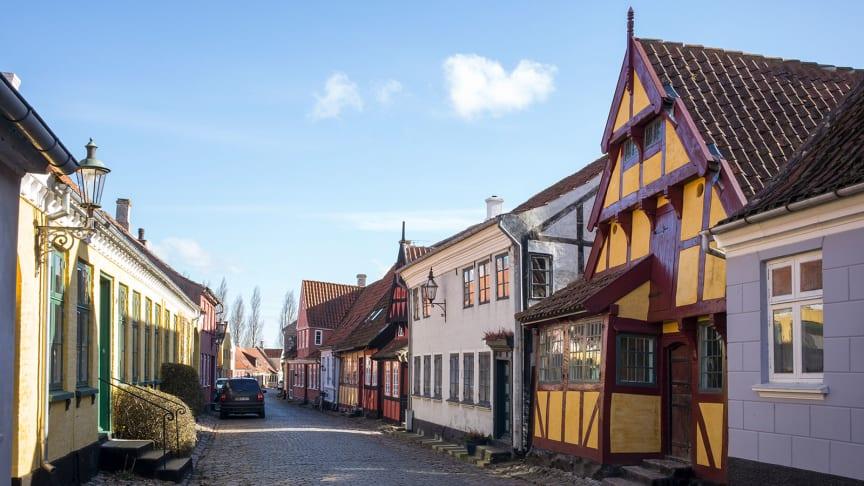 Priors Hus med det markante røde bindingsværk og den fine lille karnap