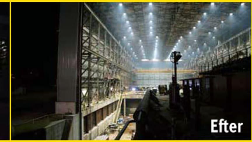 Båtvarvet DonJon Shipbuilding såg ljuset efter att 266 st 1000w metallhalogen-armaturer byttes mot 79st 480w Vigilant High Bay LED-armaturer. Montagehöjden är 28–38 meter.