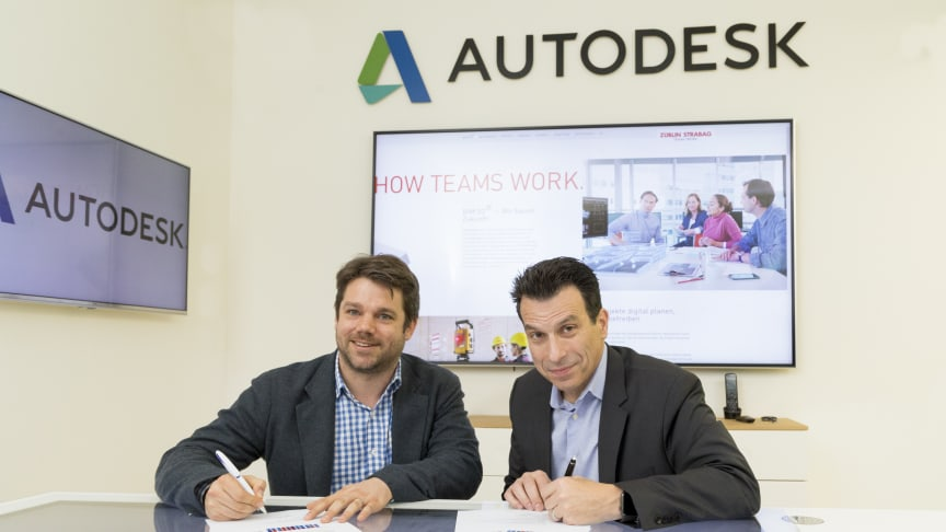 Klemens Haselsteiner, STRABAG-Digitalvorstand, und Andrew Anagnost, CEO von Autodesk, wollen die jahrelange Zusammenarbeit der Unternehmen noch weiter vertiefen. (Copyright: Autodesk)