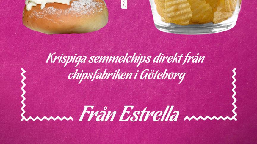 Estrella har tagit fram ett litet antal påsar chips med smak av semla, 2020.