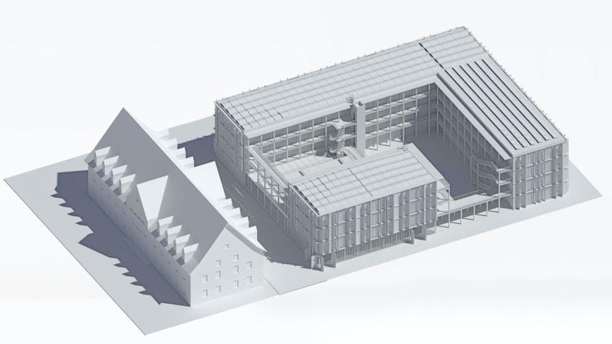 Innovativer Holz-Skelettbau: Das Modell des viergeschossigen Collegiums Academicums, das ZÜBLIN Timber in Heidelberg errichten wird. Visualisierung/Modell: DGJ Architektur GmbH, Frankfurt