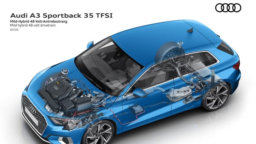 Audi A3 Sportback 35 TFSI med 48 volt mildhybrid system