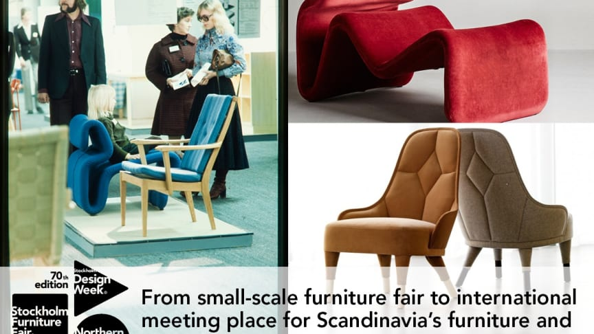 """From left: Fair visitors at Stockholm Furniture & Light Fair in the 70s, armchair """"Etcetera"""" from 1971, design by Jan Ekselius, contemporary armchair """"Emma"""", produced by Gärsnäs, photo Lennart Durehed."""
