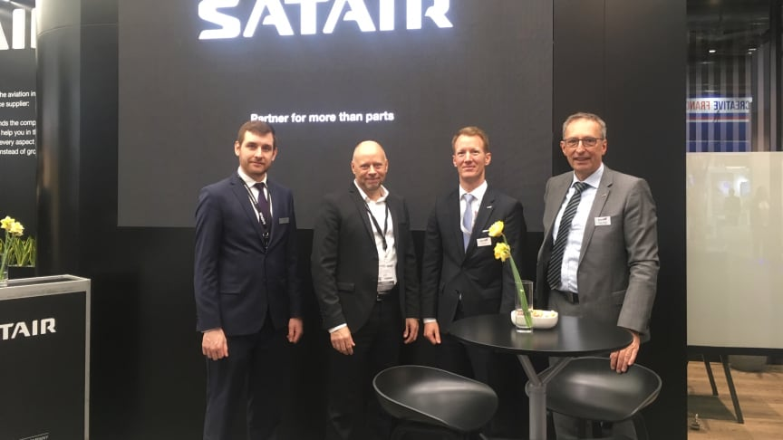 (From left) Satair's Adrien Guy Marcel Maiset, Product Manager and Morten Olsen, HO Product Management - Vice President. From Bucher, Beat Burlet, CEO and Günter Müllers, Director Sales & Programs Galleys.