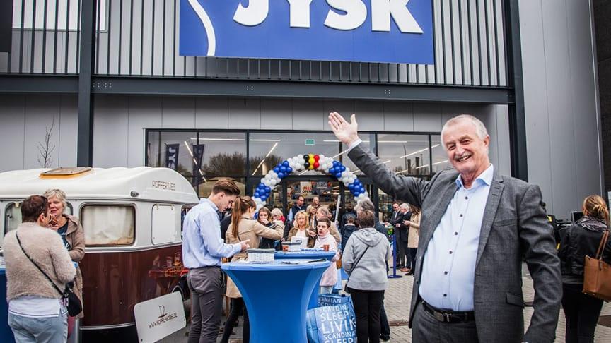 Grundlægger og formand for bestyrelsen i JYSK, Lars Larsen, ved åbningen af det seneste land i JYSK Nordic i Belgien 2017.