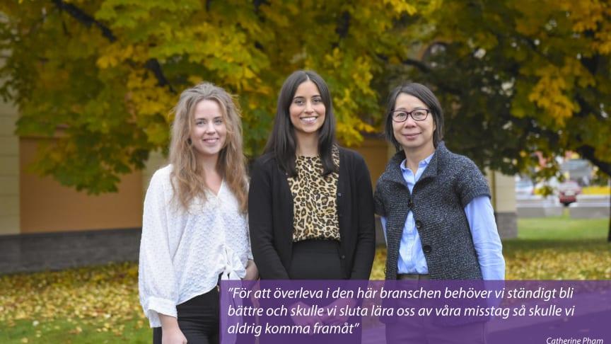 Kvalitetsavdelningen består av Sofia Nyberg, Jasmin Faroque och Catherine Pham.