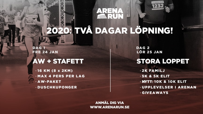 Arena Run blir 2 dagar – firar 5 år med helt ny 10km-klass samt en extra stafett-dag!