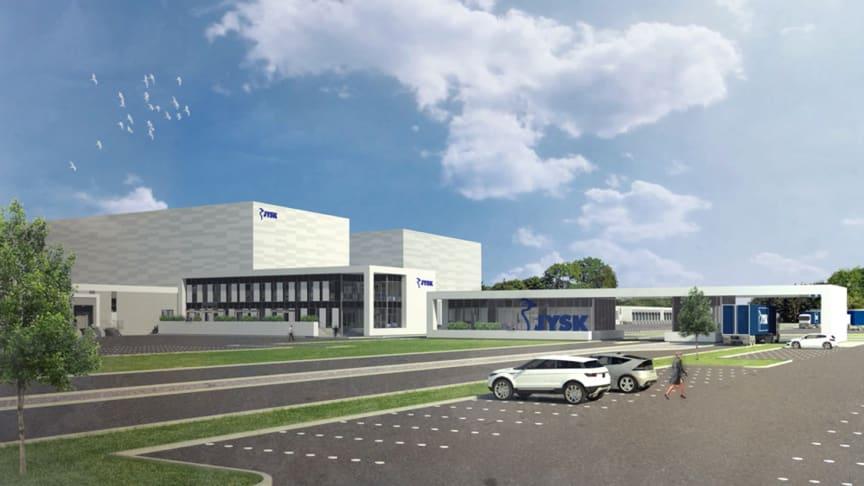 Bygningerne i det nye distributionscenter – som omfatter to højlagre, dokker til lastning og aflæsning af lastbiler og kontorlokaler til administration – vil brede sig over 143.000 kvadratmeter.