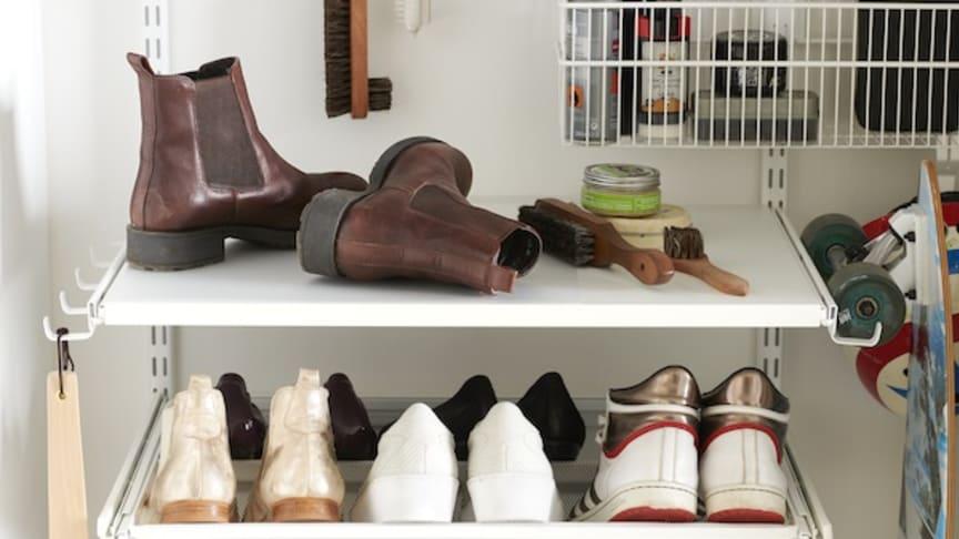 Elfa - ulosvedettävä kenkähylly matala- ja korkeakorkoisille kengille