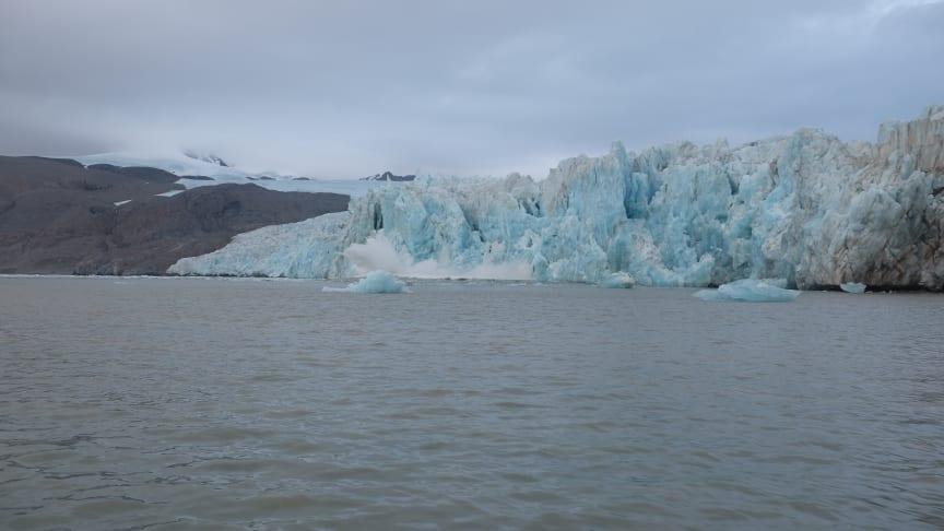 Kalvande glaciär, foto: Nina Kirchner/Stockholms universitet