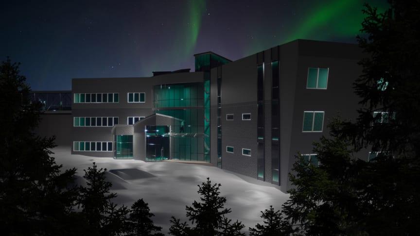 I projektet Rymd för innovation och tillväxt undersöker IRF förutsättningarna för ett Spacelab samt tillgängliggörandet av norrskensprognoser. Här en idéskiss över en framtida Spacelab-byggnad vid Rymdcampus. Arkitektritning: Anastasia Grigoryeva