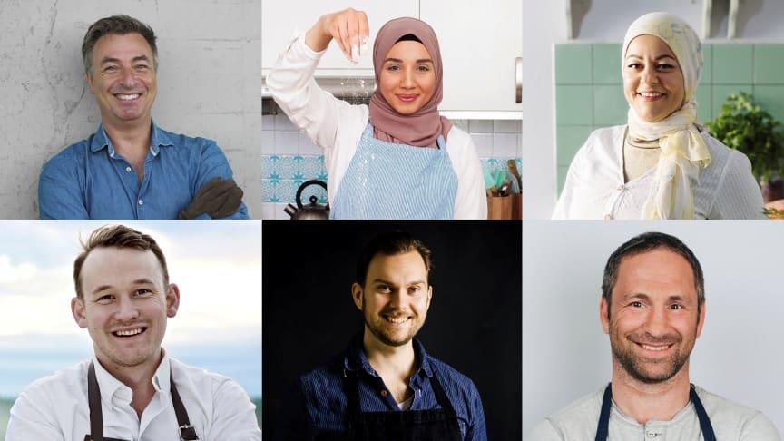 """Fr vänster: Tareq Taylor, Camilla Hamid, Zeina Mourtada, Gabriel Johansson, Gustav """"Jävligt gott"""" Johansson och Paolo Roberto."""