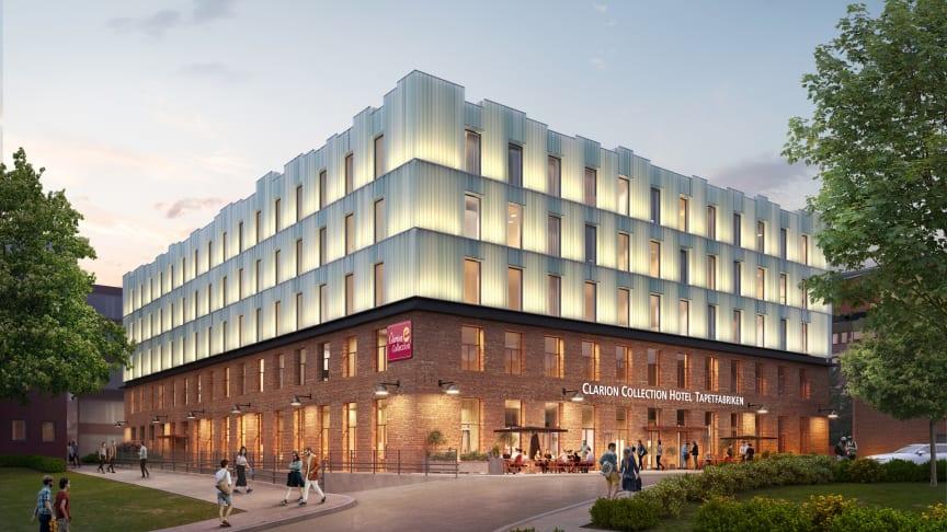Clarion Collection Hotel Tapetfabriken i Sickla beräknas stå klart i början på 2021. Foto: Visionsbild Atrium Ljungberg/ WTR.