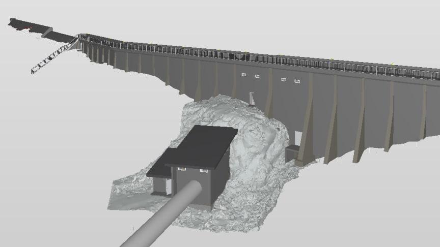 Multiconsult leverer ingen fysiske tegninger i damrehabiliteringsprosjektet for NTE Energi AS, kun digitale modeller. Her modell av dam Holden | Illustrasjon: Multiconsult