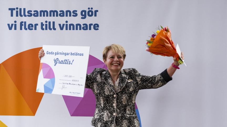 Christina från Solna vann 1 miljon på en skraplott från Miljonlotteriet.