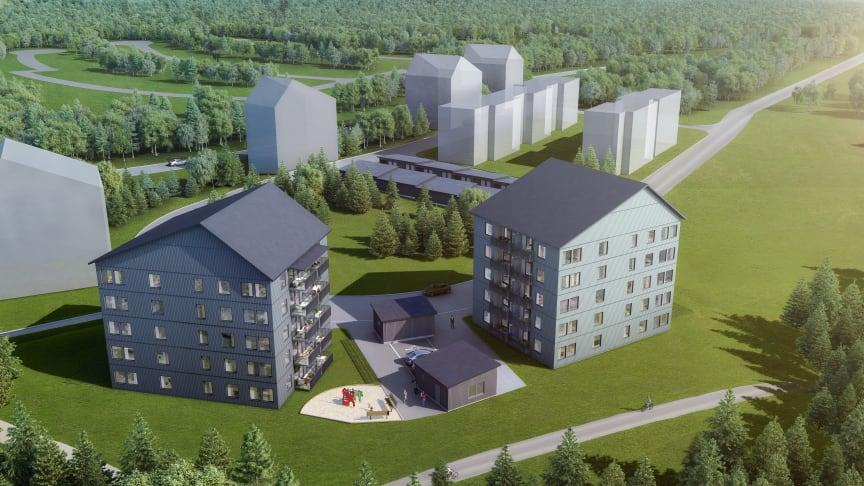 Brf Midnattssolen på Repisvaara är Riksbyggens första etapp av bostäder i den nya staden. Planerat tillträde hösten 2020.