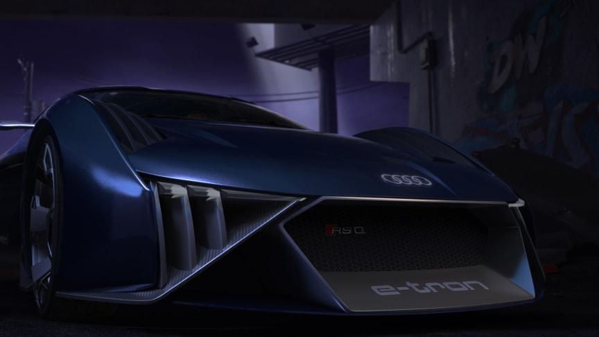 Audi RSQ e-tron close-up af front (spionbil til animationsfilmen Spies in Disguise)