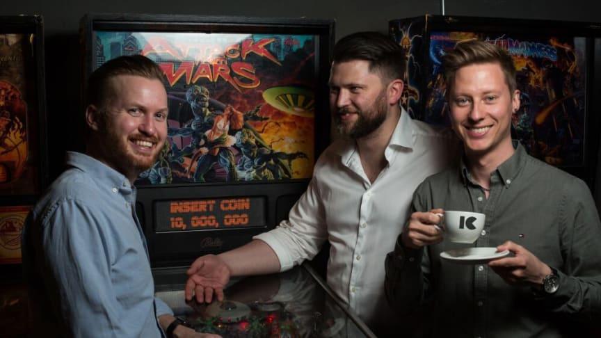 Insert Coin, som tidigare hette Mobile Storytelling, har tre grundare: Carl Bjerkne, Jonathan Sterner och Joakim Akterhall. Foto: Jens Hendar/Press