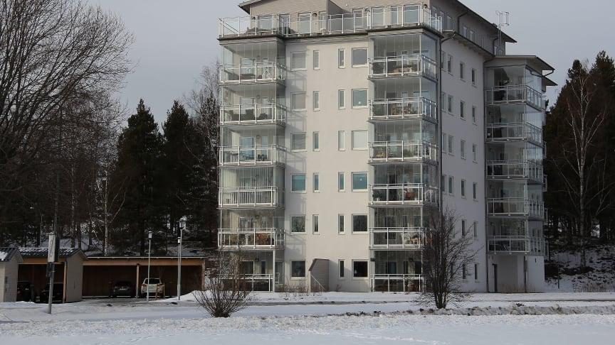 Bilden föreställer brf Varpen i Bollnäs, liknande punkthus planeras i Hudiksvalls hamn.