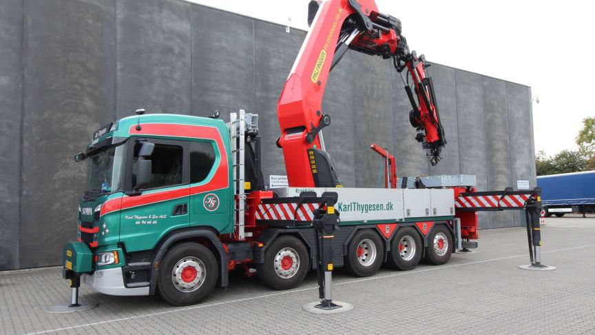Karl Thygesen & Søns nye Scania G 500 10x4*6 med Palfinger PK 200.002L SH-kran.