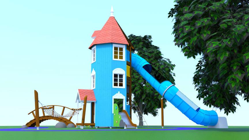 Muminhusets gård är det första konceptet som Lappset släpper från den nya serien av lekredskap med Mumintema.
