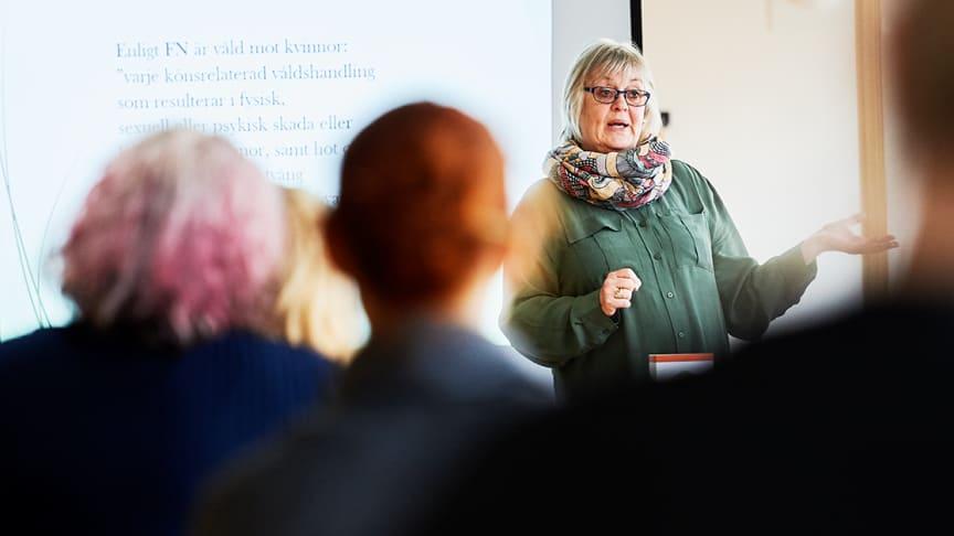 """Vad är egentligen """"våld i nära relation""""? Lena Öfverholm-Månsson snabbutbildar bibliotekspersonalen. Foto: Maria Fäldt"""