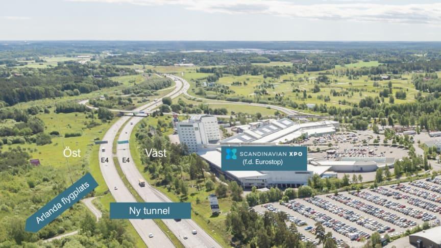 Flygbild över Scandinavian XPO och delar av Arlandastad.