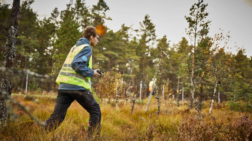 Här ses en del av en stor samverkansövning mellan länsstyrelsen i Jönköpings län och frivilliga försvarsorganisationer som genomfördes under oktober 2019.