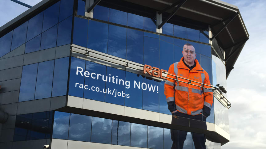 RAC patrol James Pallister standing 50 feet tall overlooking the M6 at the RAC's technical centre in Walsall