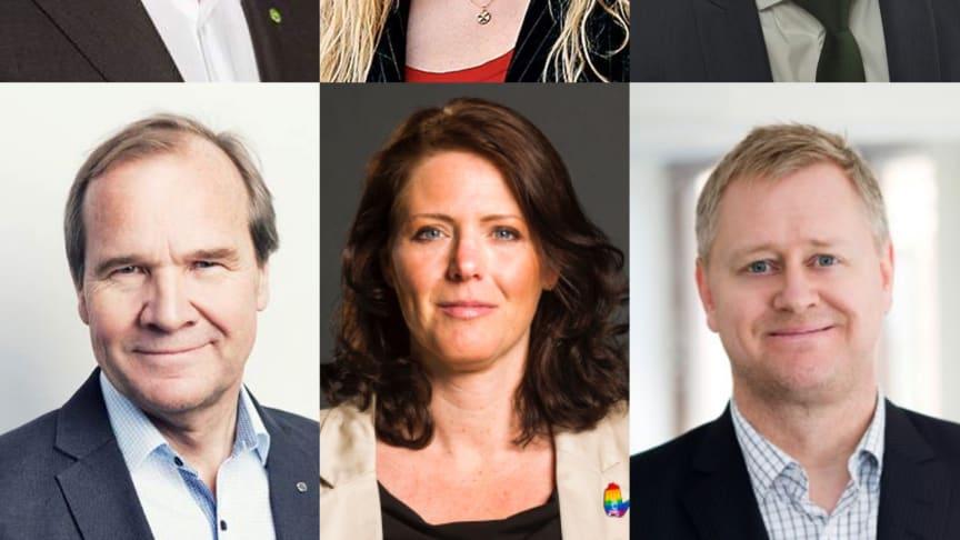 Peter Eriksson, bostadsminister (MP); Anna Dahlberg, politisk redaktör Expressen; Emil Källström, ekonomisk-politisk talesperson (C); Anders Lago förbundsordf HSB;  Ebba Östlin, kommunstyrelsens ordf Botkyrka (S); Ted Lindqvist, vd Evidens